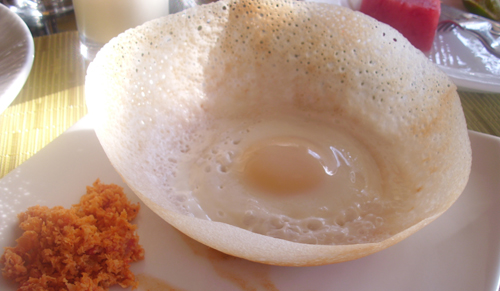 Egg hopper with coconut sambal